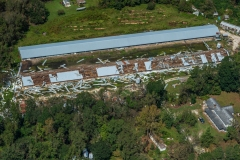 Aerial view of a CAFO farm surrounded by flood waters in Duplin County. North Carolina, USA.