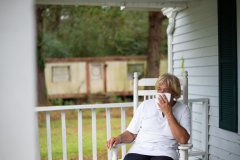 Activist, Elsie Herring, during an interview, on the verandah of her family home. North Carolina, USA.